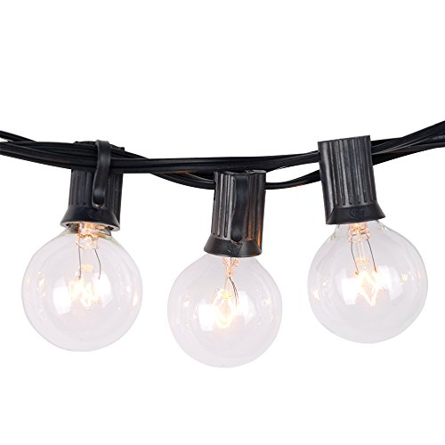[Free 3 Replacement Bulbs] Noza Tec 50Ft (2*25Ft) Globe String Lights with 53 Clear G40 Bulbs - Perfect for Indoor / Outdoor Decor (Cord Clear Bulbs)