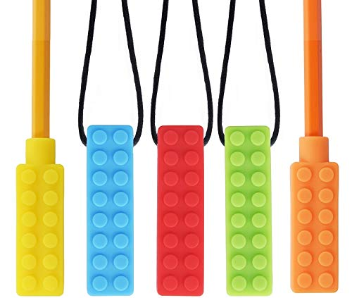 New Adhd Solutions - CHEW~E~Chainz Premium Pack Sensory Chew Necklace Set (5-Pack-Includes 2 Bonus Pencil Toppers)- Silicone Chewy for Autism, ADHD, Biting & Teething Boys and Girls, The New CHEW-Stronger & Lasts Longer
