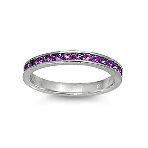 Glitz Jewel (Sterling Silver Simulated Amethyst Eternity Thin Band Channel Set 3mm Ring, 3mm Choose Your Color)