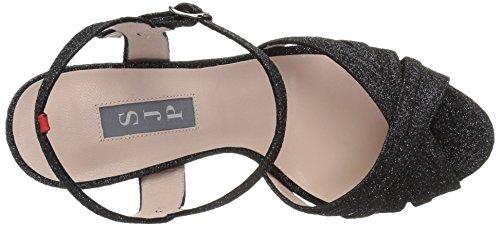 by Sarah Parker Women's Jessica Toe Open Black Glitter Doozy Sandals Cadence SJP BAgpp