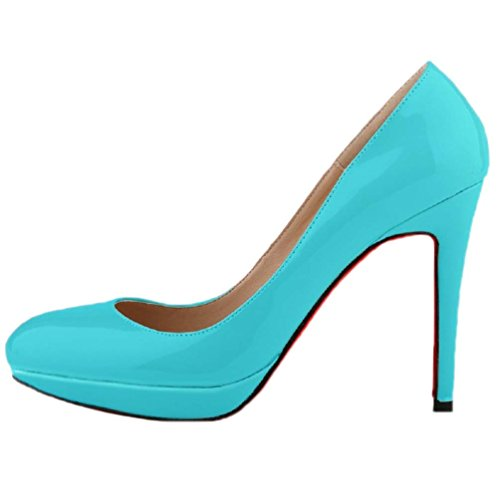 HooH Damen Platform Stilleto High Heel Hochzeit Pumps Rote Sohle Blau