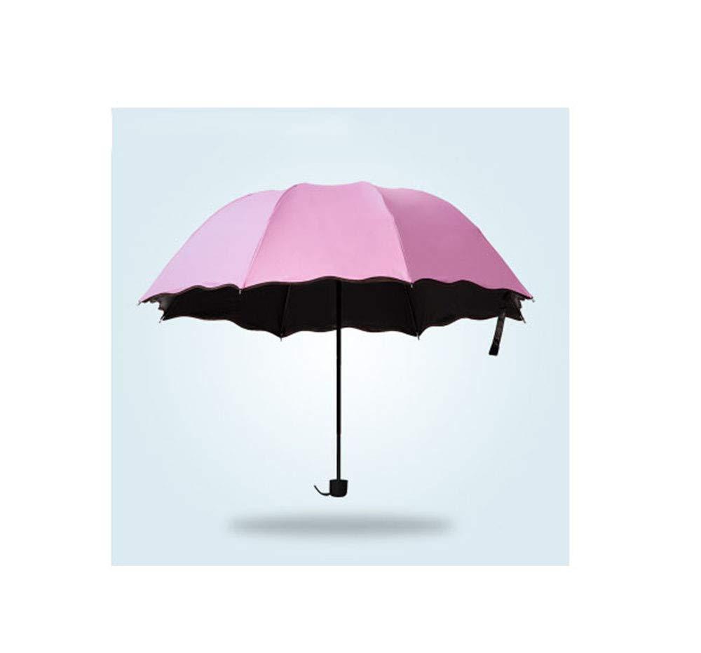 SYT Umbrellas Mode Simple Femmes Parapluie Coupe-Vent Protection Solaire Fleur Magique dôme résistant aux Rayons ultraviolets Soleil Pliant parapluies, Rose