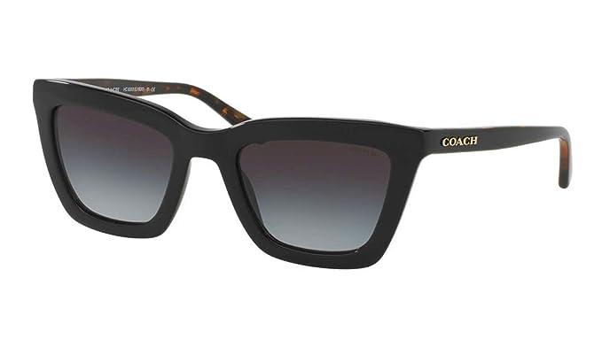 01a91e12ee85 Coach Women's HC8203 Sunglasses Black/Black Tortoise/Light Grey Gradient  54mm