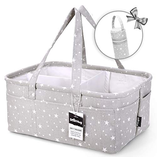 (Unique Baby Diaper Caddy Organizer - Large Nursery Storage Bin for Changing Table | Car Travel Tote Bag | Boy Girl Shower Gift Basket | Newborn Registry Must Haves | Free Bonus Bottle Cooler  )