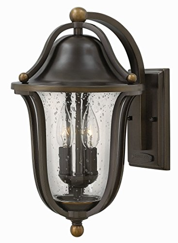 Hinkley 2644OB Bolla - Two Light Outdoor Wall Lantern, Olde Bronze Finish with Clear Seedy ()