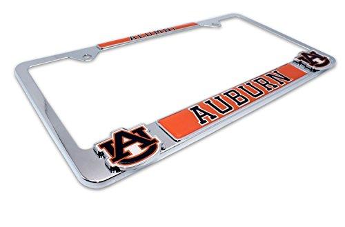 License Plate Logo Auburn Tigers - Premium All Metal NCAA Alumni License Plate Frame w/Dual 3D Logos (Auburn)