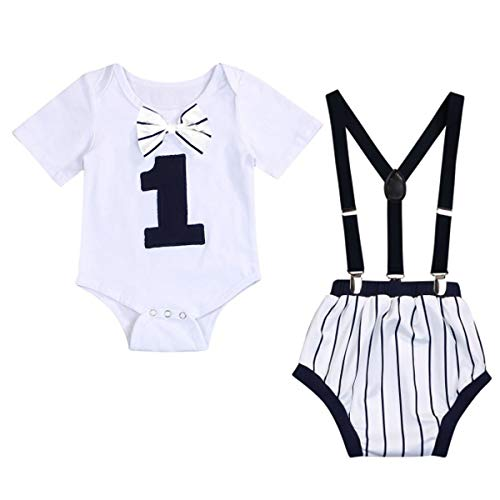 Baby Boy First Birthday Baseball Outfits Infant Boy Bow Tie One Romper Gentleman Cake Smash Party Outfits (Baseball, 12-15 Months)