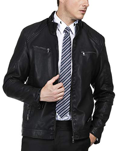 - PAUL JONES Mens Motorcycle Jacket Zipper Closure Windbreaker Leather Jacket Size XL Black
