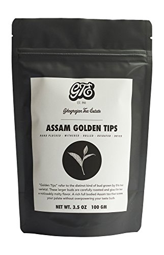 Malty Assam Black Tea Leaves With Golden Tips (50 Tea Cups) - Hand Plucked 2017 Harvest Rich Full Bodied Loose Leaf STGFOP Pure Assam Tea - Direct from 5th Generation Assam Tea Farm - 3.5 oz Bag (Assam Breakfast Tea)