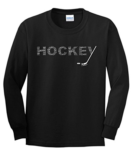 Hockey Word Collage Hockey Fan Gift Youth Long Sleeve T-Shirt Large Black ()