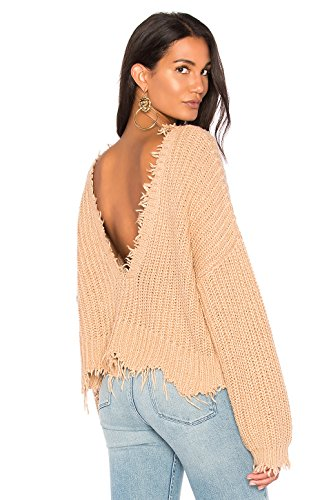 Luxe V-neck Sweater (Wildfox Palmetto Fringe Crop V Sweater (LG, Desert Dunes))
