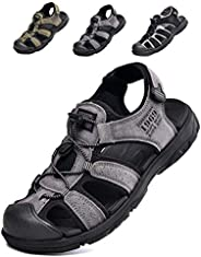Sandals Mens Cap Toe Walking Climbing Hiking Sport Shoes Outdoor Leather Sandals