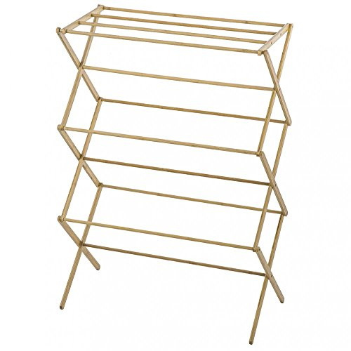 Indoor Folding Bamboo Clothes Drying Rack Dry Laundry and Ha