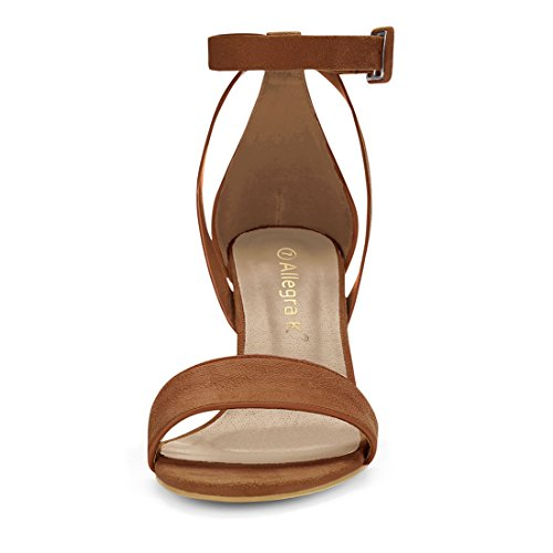 Panel Strap Piped Sandals K Chunky Heel Allegra 5 Brown Ankle Women PU HJ284 XqgOvA