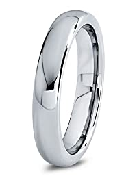 Tungsten Wedding Band Ring 4mm for Men Women Comfort Fit Domed Round Polished