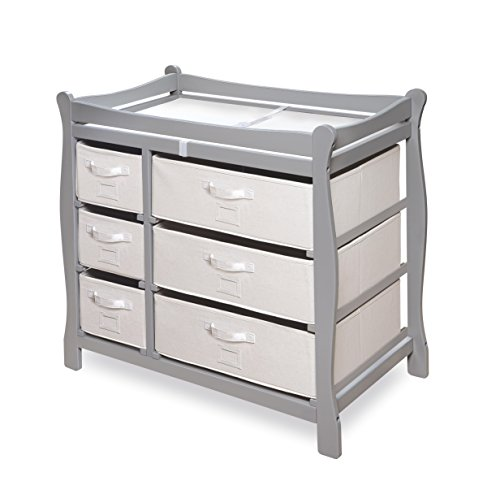 Image of the Badger Basket Sleigh Style Changing Table with Six Baskets, Gray