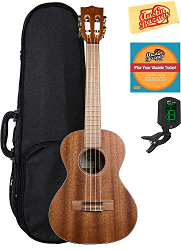 Kala KA-SMHT Solid Mahogany Tenor Ukulele Bundle with Hard Case, Tuner, Austin Bazaar Instructional DVD, and Polishing Cloth