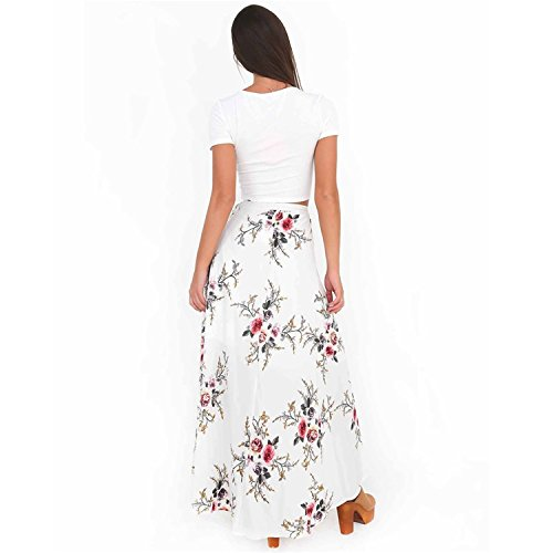 Dress White Printed Loose Print Casual Skirt Split Roseate Women's Floral Tea w6BAqxznT