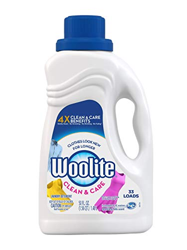 - Woolite Clean & Care Liquid Laundry Detergent, 33 Loads, 50oz, Regular & HE Washers, Gentle Cycle, sparkling falls scent,packaging may vary