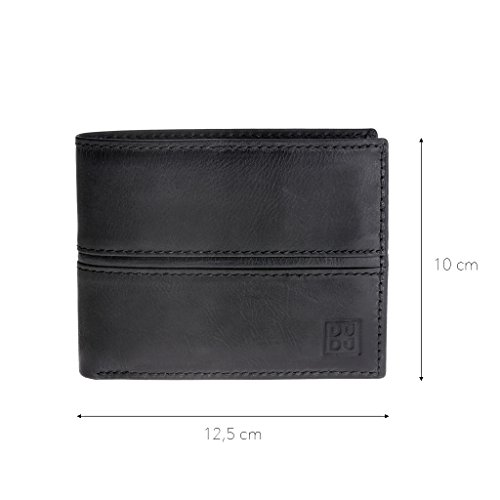 purse coin ~ leather DUDU Wallet with for brushed man hand Adriano Hunter Black in ZqqPx68
