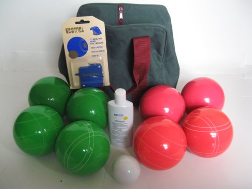 Premium Quality Basic EPCO Bocce package - 110mm Green and Light Red balls, quality nylon bag... by Epco