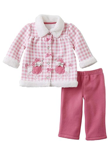 (Infant Girls Baby Poodle Outfit Pink Check Fleece Jacket Shirt & Pants Set 6-9m)