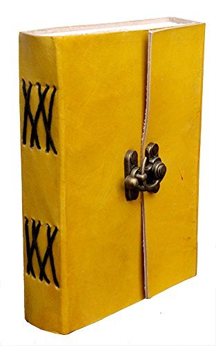 (TUZECH Handmade DiaryNotebook for Office/Home/Craft/Art Use With C lock (Yellow,)