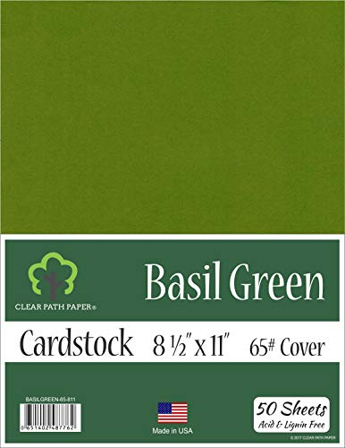 - Basil Green Cardstock - 8.5 x 11 inch - 65Lb Cover - 50 Sheets