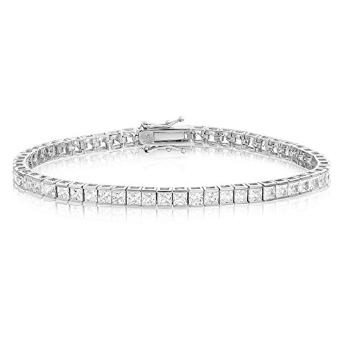 (KEZEF Creations Rhodium Plated Sterling Silver Square Princess Cut 3x3 White Cubic Zirconia Tennis Bracelet 8