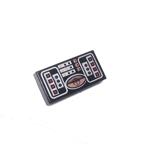 Lego Parts: Tile, Decorated 1 x 2 with STAR WARS (Avionics - Copper, Red & Silver Pattern) (Lego Star Wars Wookiee Ship)