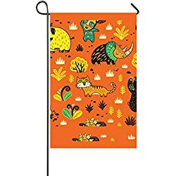 "Lucy Curme Hunting Prehistoric Garden Flag Double-sided, Polyester, Yard Flag to Brighten Up Your Home 12"""" X18"