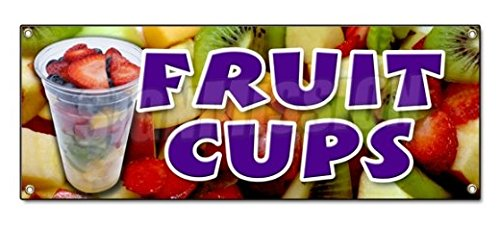 Fruit Cups Sticker Sign Peaches Pineapple Orange Fruit Cocktial Salad Syrup Berry Sticker Sign - Sticker Graphic Sign - Will Stick to Any Smooth Surface