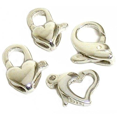 - 4 Sterling Silver Lobster Claw Heart & Dolphin Clasps