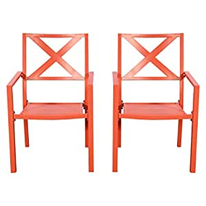 Chair Slat Seat Furniture Porch 2PC Orange Outdoor Patio With Armrest Garden for your to enjoy