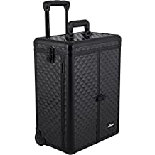 Sunrise E6306 Professional Makeup Cosmetic Rolling Train Case Organizer with French Door, 2 Drawers and Mirror, Diamond Black