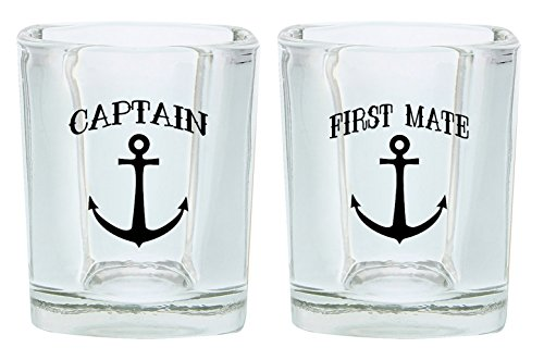 (Couples Shot Glasses Captain and First Mate Nautical Anchor Funny Wedding Gift for Newlyweds Couples Gift Shot Glasses 2-Pack Square Shot Glass Set)