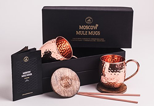 Moscow Mule Mugs Gift Set, 2 Authentic Handcrafted Copper Mugs (16 oz.), 2 Straws, 2 Solid Wood Coasters and Recipe Book by L.A. Copper Crafts