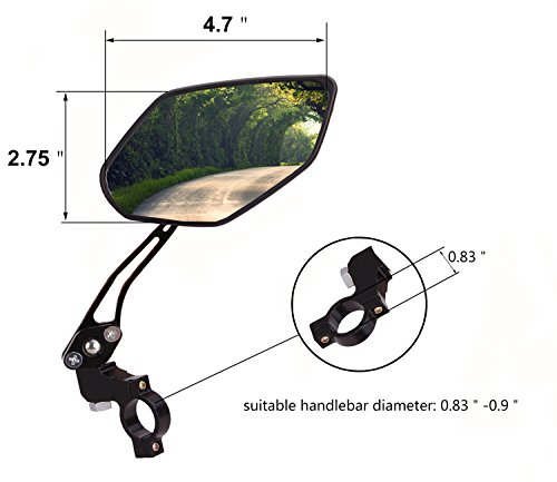 BIKEIN Bike Mirrors (2 Packs) - 360° Full Rotation Adjustable Safety Rearview Mirror for Mountain Bike, Electric Bike- Free Tools to Easily Install by BIKEIN (Image #2)