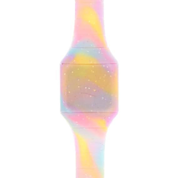 Claire de Chica de Purpurina Pastel Tie Dye Digital Blink Reloj en Color Azul/Rosa