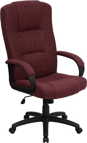 Flash Furniture High Back Burgundy Fabric Executive Swivel Chair with Arms - Swivel Burgundy Task Chair