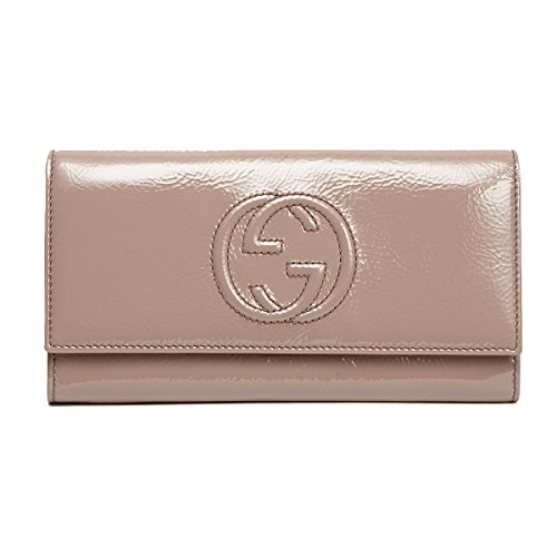 Gucci 'Soho' Soft Patent Leather Continental wallet 282414, Pink Nude