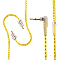 Yinyoo KZ ZS3 ZS5 ZS6 Cable 0.75mm 2 pin Replacement Upgrade silver plate earphones cable Replace Wire for KZ Headphones (Yellow ZS5 Cable)
