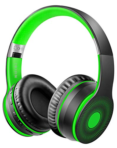 Ifecco Bluetooth Headphones, 4 in 1 Upgrade Bluetooth Foldable Over-Ear Headsets with Micro Support SD/TF Card Compatible with Bluetooth-Enabled Devices (Green)