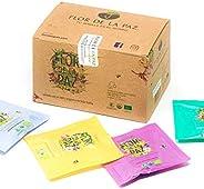 FLOR DE LA PAZ, caja surtida con 15 sachets de 1.5 gramos cada uno, té 100% orgánico de hoja suelta