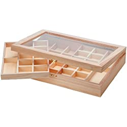 Darice Wood Organizer with Clear Top-Unfinished-15.75 x 11 x 3 inches Wood Oragnizer