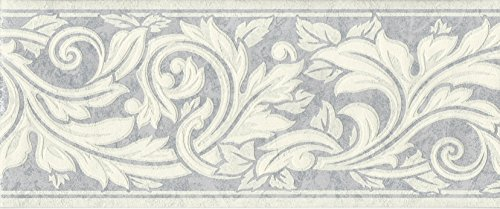 Textured Scroll Wallpaper (Wallpaper Border Eggshell White Textured Acanthus Leaf Scroll on Silver Blue)