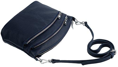 Mano Estilo Casual Mujer Arriba Zipper Yaluxe Con Asa De De Saco Cuerpo Genuino Dark Cruza Azul Triple Negro Bolsa Cuero Bolso YwIwxXE