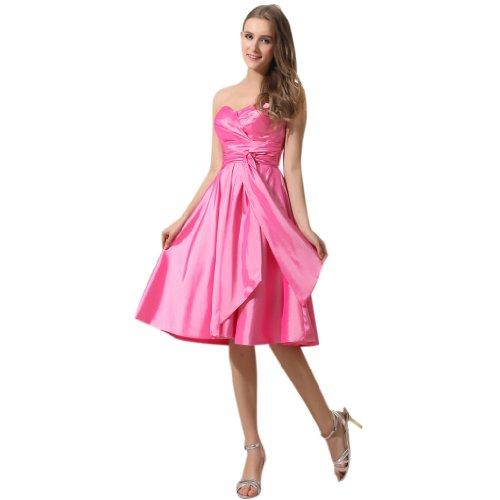 Ausschnitt Rosa Knielang Abendkleider Damen A Herz Linie Kleidungen Charmeuse Dearta qzxPwXY