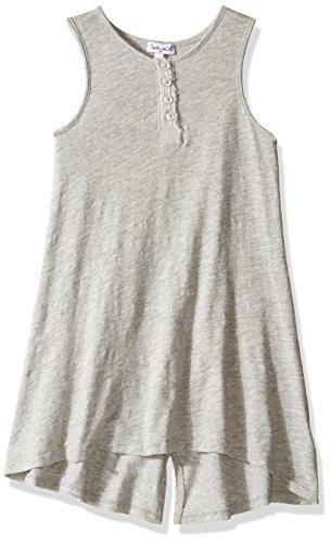 Splendid Girls' Toddler Henley Neck Tank Dress, Grey Heather 2T ()