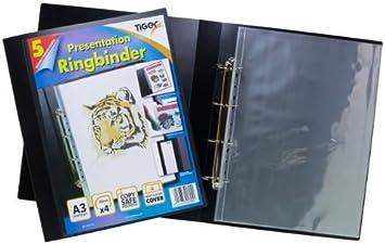 Tiger A3 DE LUJO Fotografía 4-d Carpeta anillas Carpeta LIMA Arte Negro Presentación Portafolio + 5 FUNDAS: Amazon.es: Oficina y papelería